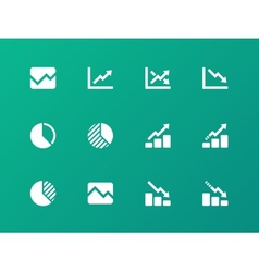 Line chart and diagram icons on green background vector