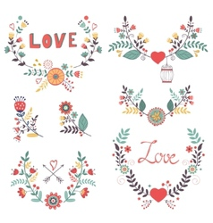 Beautiful collection of floral compositions vector
