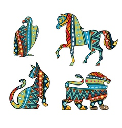 Patterned animals vector