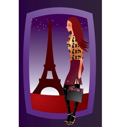 Fashion sexy girl in paris vector