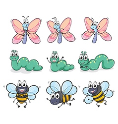 A caterpillar a butterfly and a bee vector