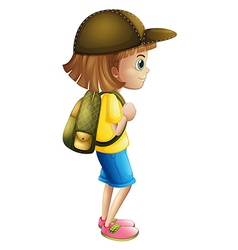 A young girl ready for hiking vector