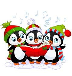Christmas carolers penguins vector