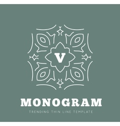 Simple and graceful monogram design template vector