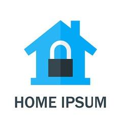 Home with padlock logo vector