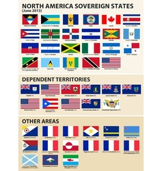 Flags of the north america 2013 vector
