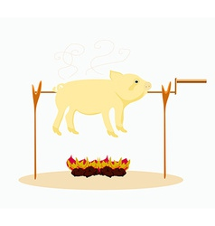 An image of a roasted pig vector