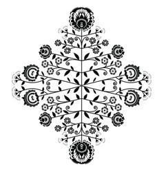 Polish folk inspired floral black pattern vector