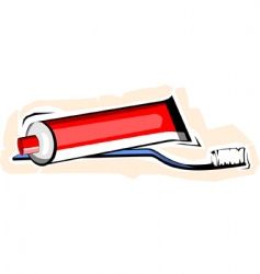 Toothpaste with brush vector