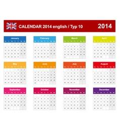 Calendar 2014 english type 10 vector