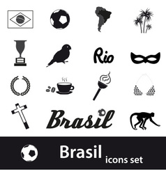 Black brazil icons and symbols set eps10 vector