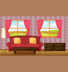 A red sofa and side table vector