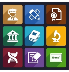 School and education flat icons set 25 vector