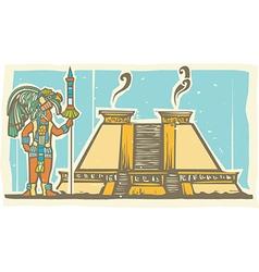 Mayan warrior and pyramid vector