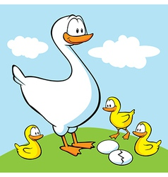 Goose with goslings vector