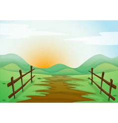 Countryside landscape background vector