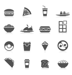 Fast food icons black vector