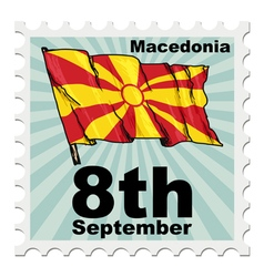 Post stamp of national day of macedonia vector