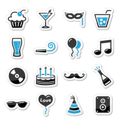 Holidays and party icons set as labels vector