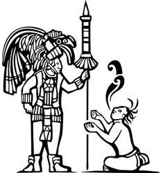Mayan warrior and captive vector