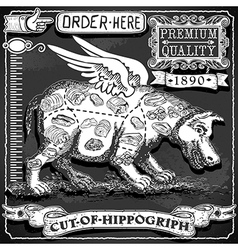 Vintage blackboard of cut of hippogriph vector