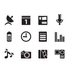 Silhouette mobile phone performance icons vector