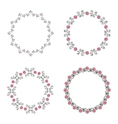 Set of four ornate round vintage frames vector