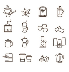 Outline brown simple coffee icons set eps10 vector