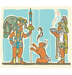 Mayan warrior captive and priest vector