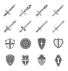 Shield swords emblems icons set vector
