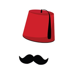 Turkish hat and mustache vector