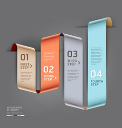 Abstract ribbon style infographics template vector