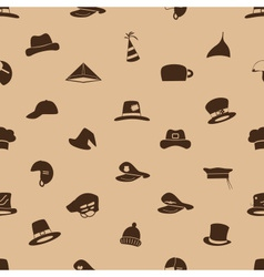 Brown hats icons set seamless pattern eps10 vector