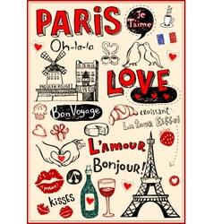 Paris love doodles vector