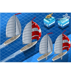 Isometric sailships in navigation vector
