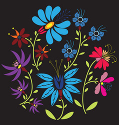 Colour folk floral pattern in circle on black vector