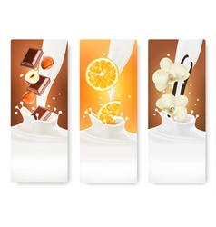 Set of banners with hazelnuts chocolate oranges vector