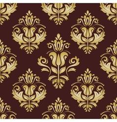 Damask seamless golden pattern orient background vector
