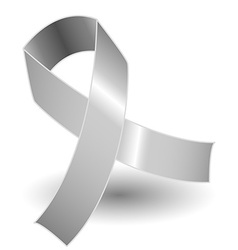 Silver awareness ribbon and shadow vector