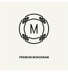 Premium art deco monogram design element vector