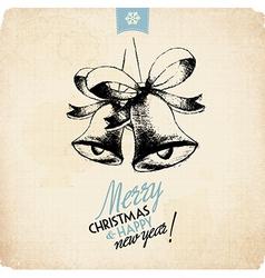 Retro vintage hand drawn christmas greeting card vector