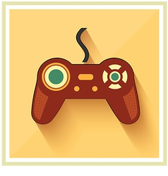 Computer video game controller joystick flat icon vector