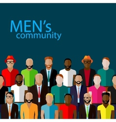 Flat of male community with a large group of guys vector