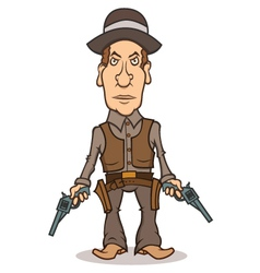 Angry cartoon cowboy with two guns vector