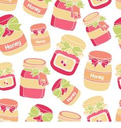 Jars of cherry jam and honey seamless pattern vector