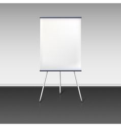 Blank flipchart stands near the wall vector