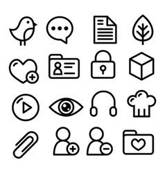 Website menu navigation line icons - social media vector