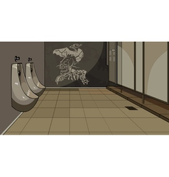 Interior male toilet with urinals vector