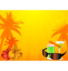 Summer background with drinks sunglasses vector