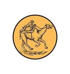 Jockey camel racing circle etching vector